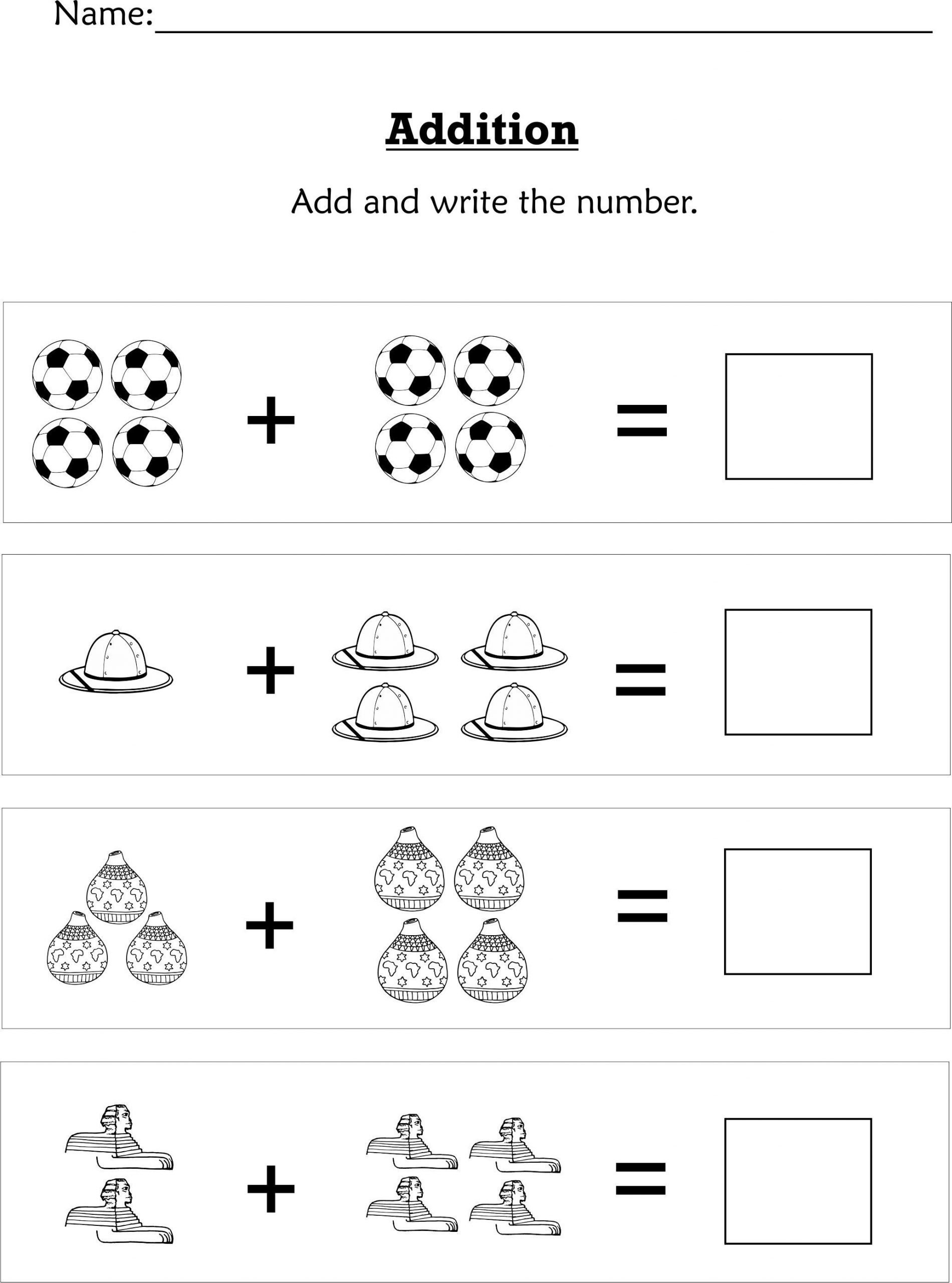 Simple Addition Worksheets Kindergarten Mathematics Pre K K Pack Iloveafrikadesigns