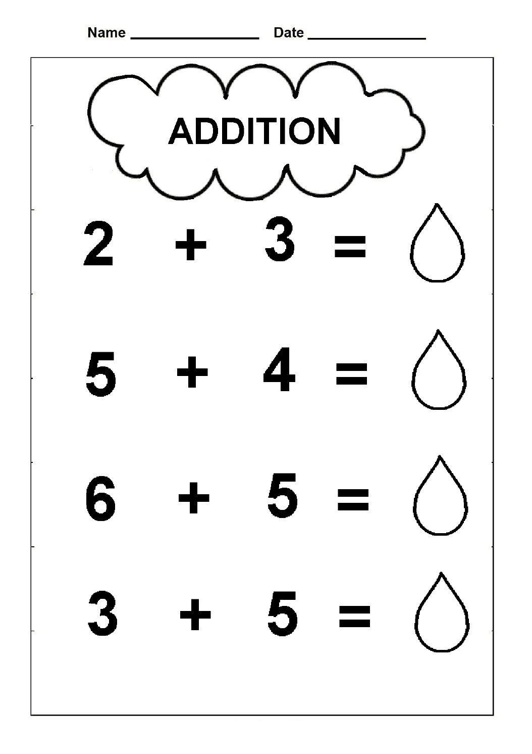 Simple Addition Worksheets Kindergarten Pin On First Grade Maths
