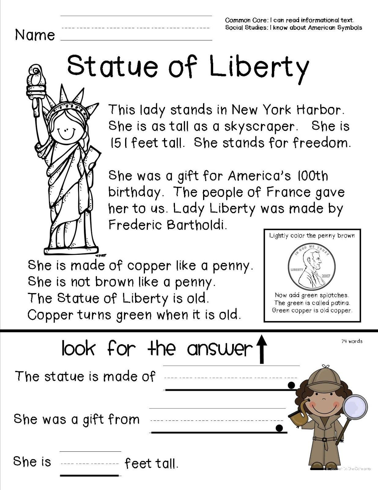 Social Studies for Kindergarten Worksheets Teacher to the Core American Symbols