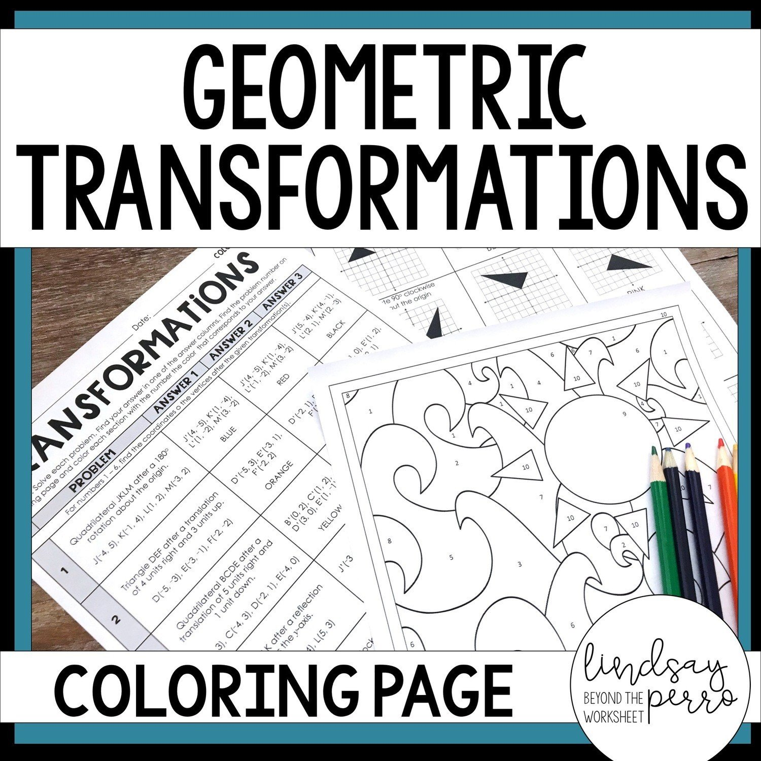 Solving Inequalities Coloring Worksheet Geometric Transformations Coloring Page