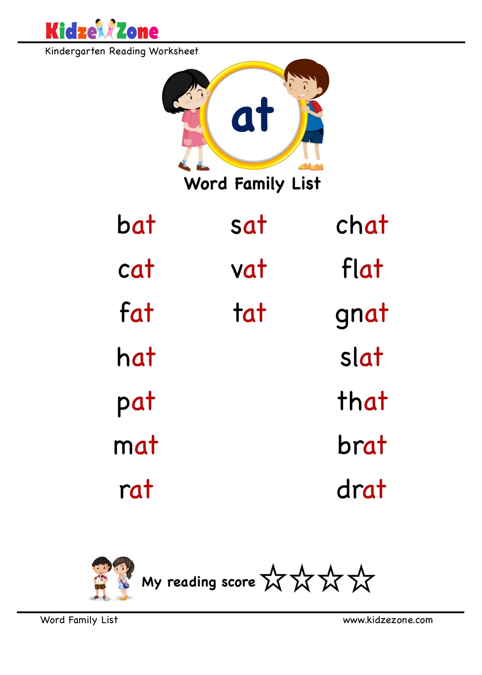 "Spelling Worksheets for Kindergarten Explore and Learn Words From ""at"" Word Family with Word List"