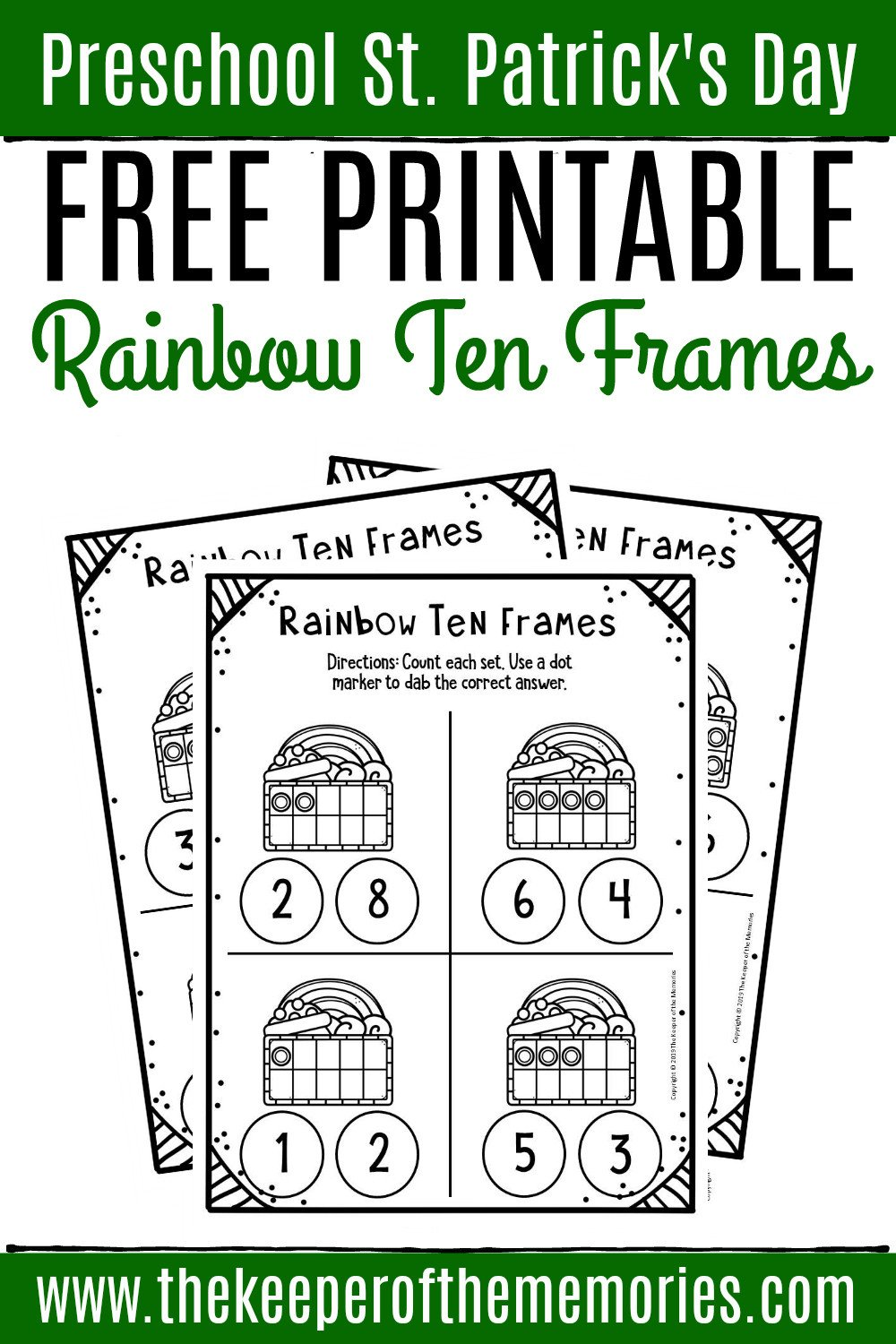 Ten Frames Kindergarten Worksheets Free Rainbow Printable Ten Frame Worksheets the Keeper Of