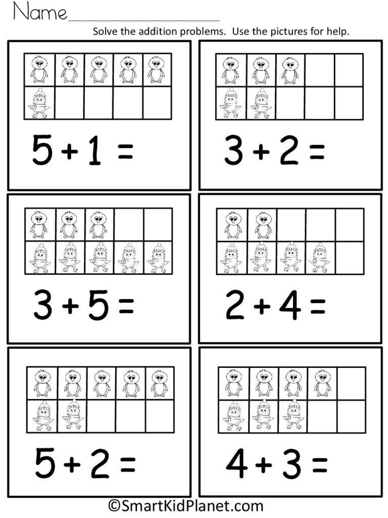 Ten Frames Kindergarten Worksheets Penguin Addition Using Ten Frames Up to 10 Smart Kid
