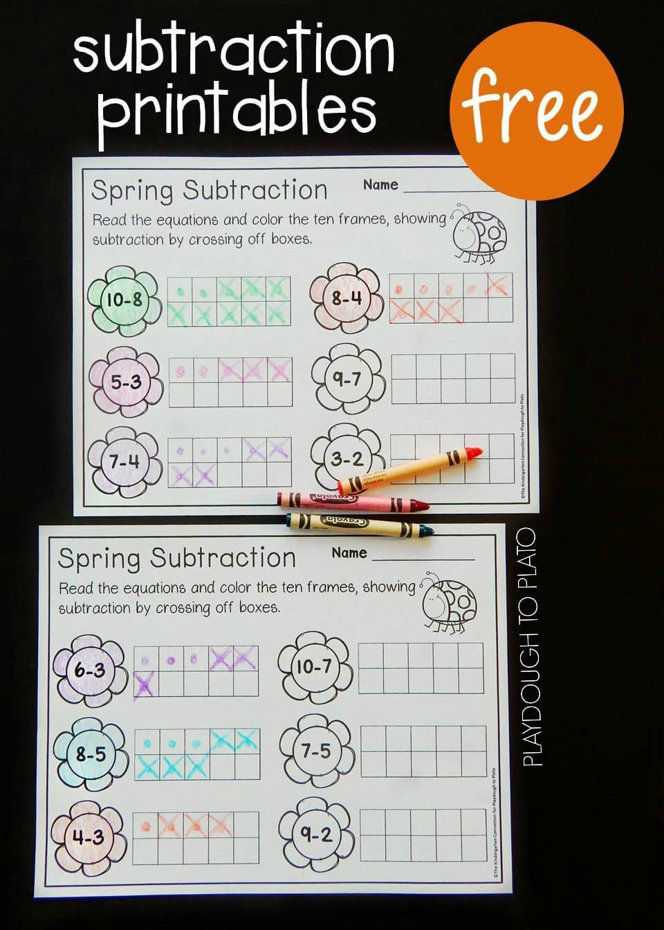 Ten Frames Kindergarten Worksheets Spring Ten Frame Subtraction Playdough to Plato
