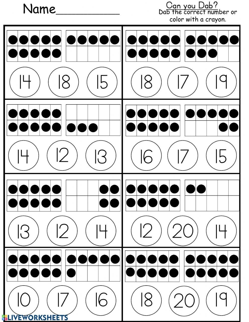 Ten Frames Kindergarten Worksheets Ten Frame Counting to 20 Interactive Worksheet