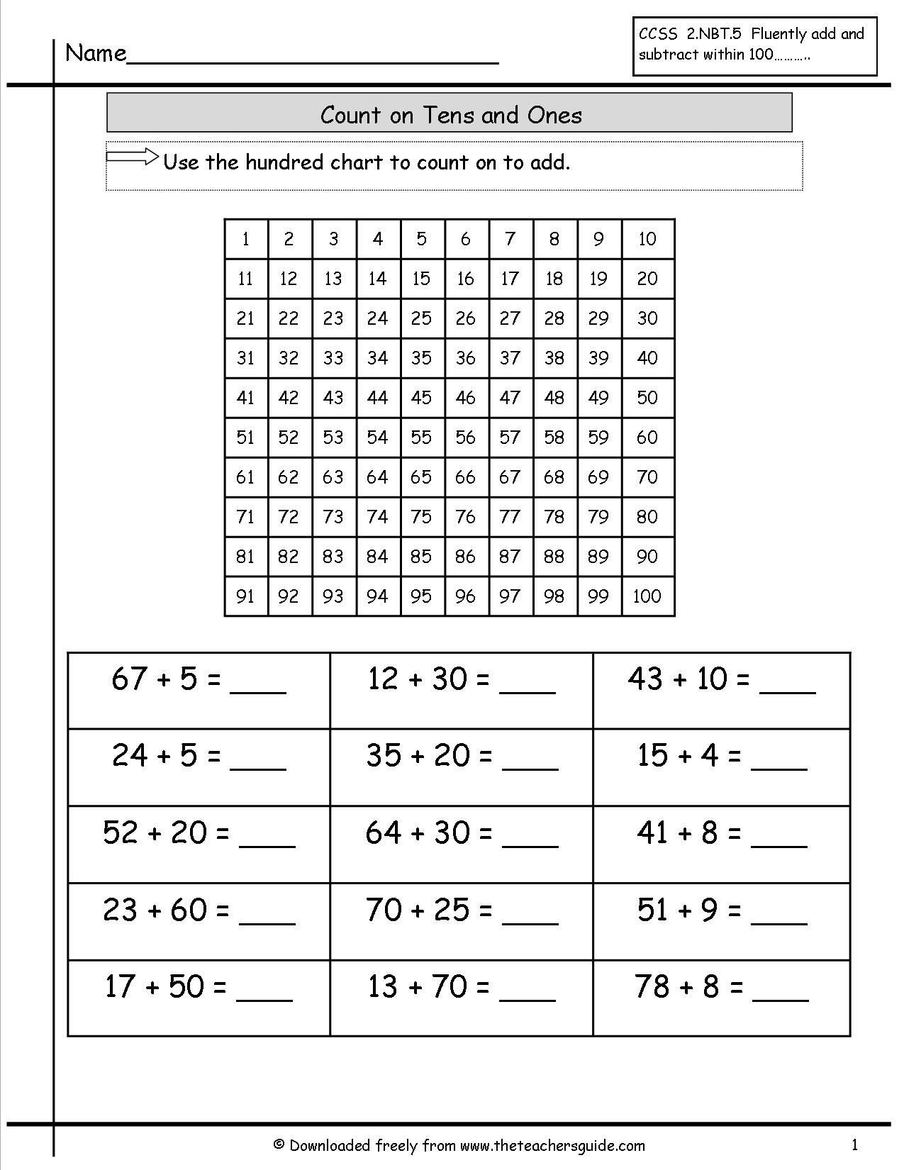 counting on ones and tens worksheet math addition worksheets
