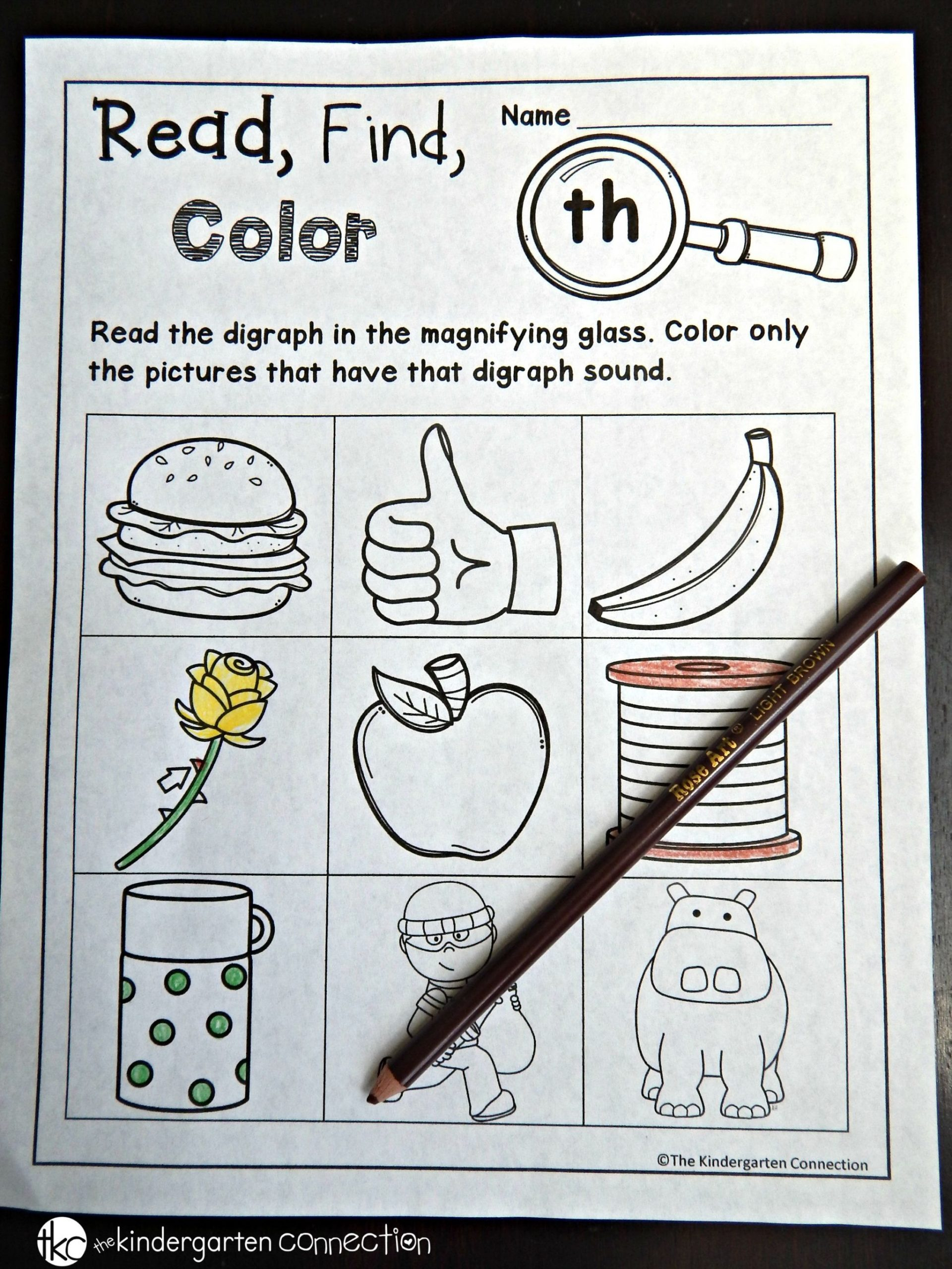 Th sound Worksheets Kindergarten Free Digraph and Cvce Printables the Kindergarten Connection
