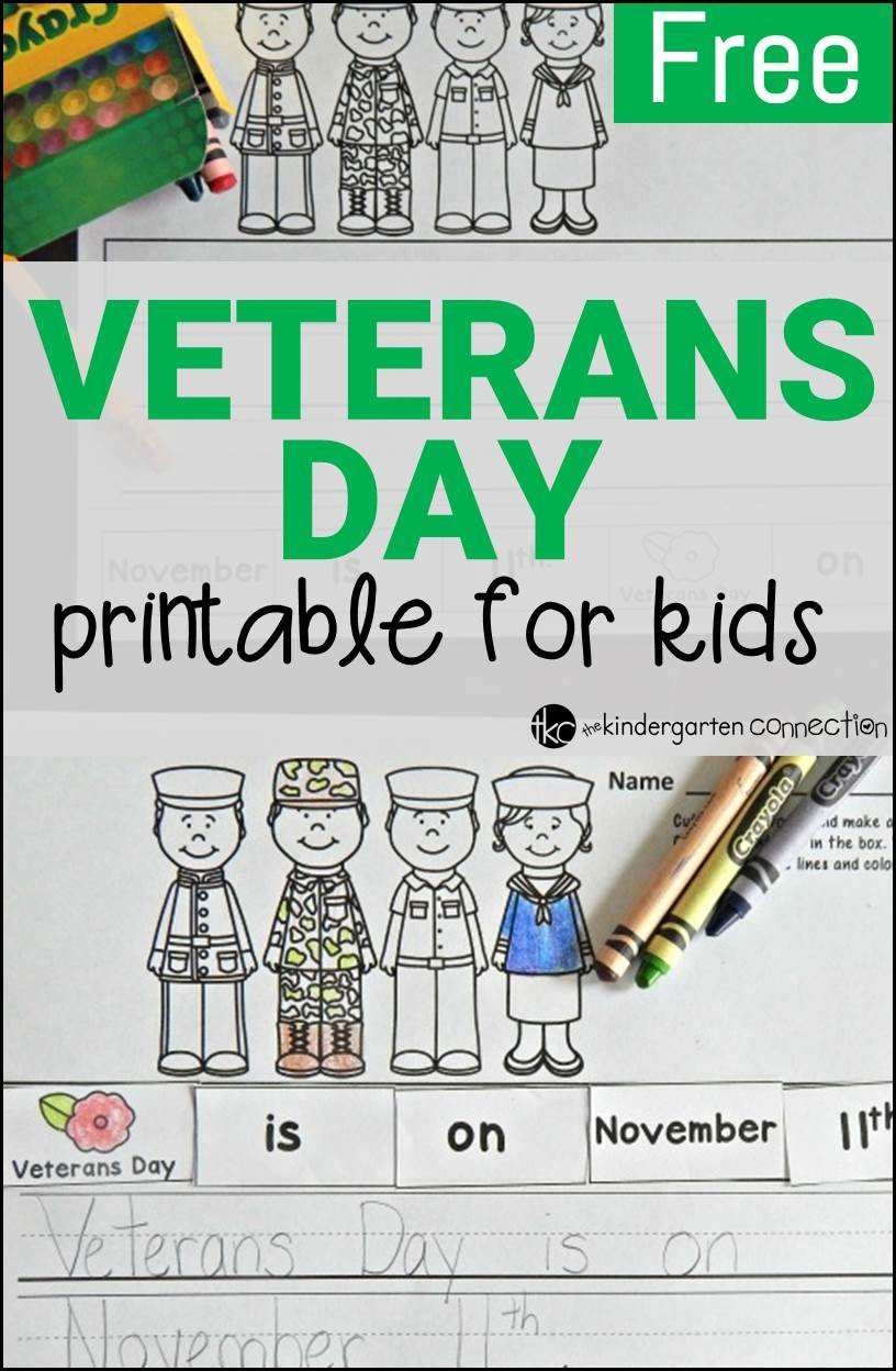 Veterans Day Worksheets for Kindergarten Free Veterans Day Activity the Kindergarten Connection
