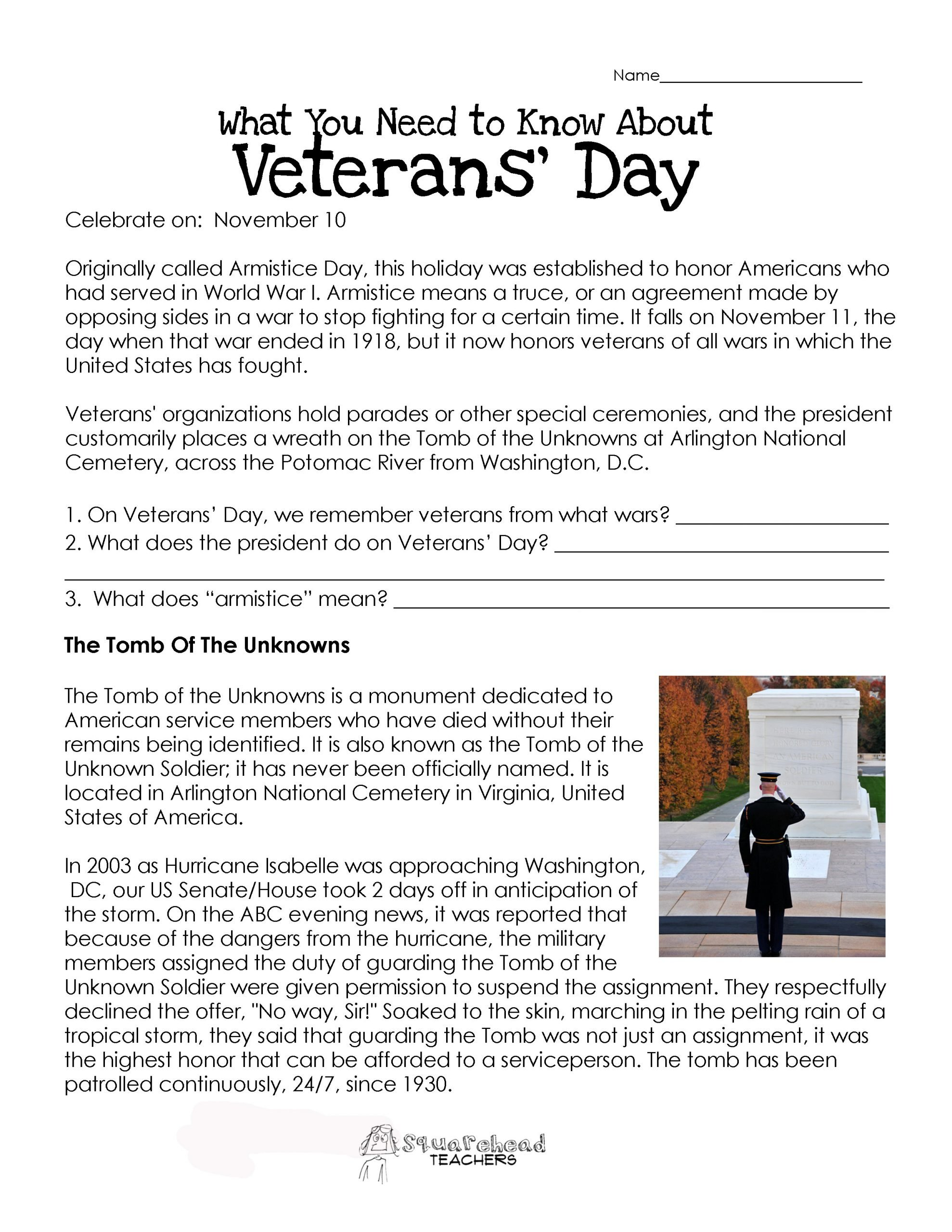 Veterans Day Worksheets for Kindergarten Veterans Day Worksheet Updated