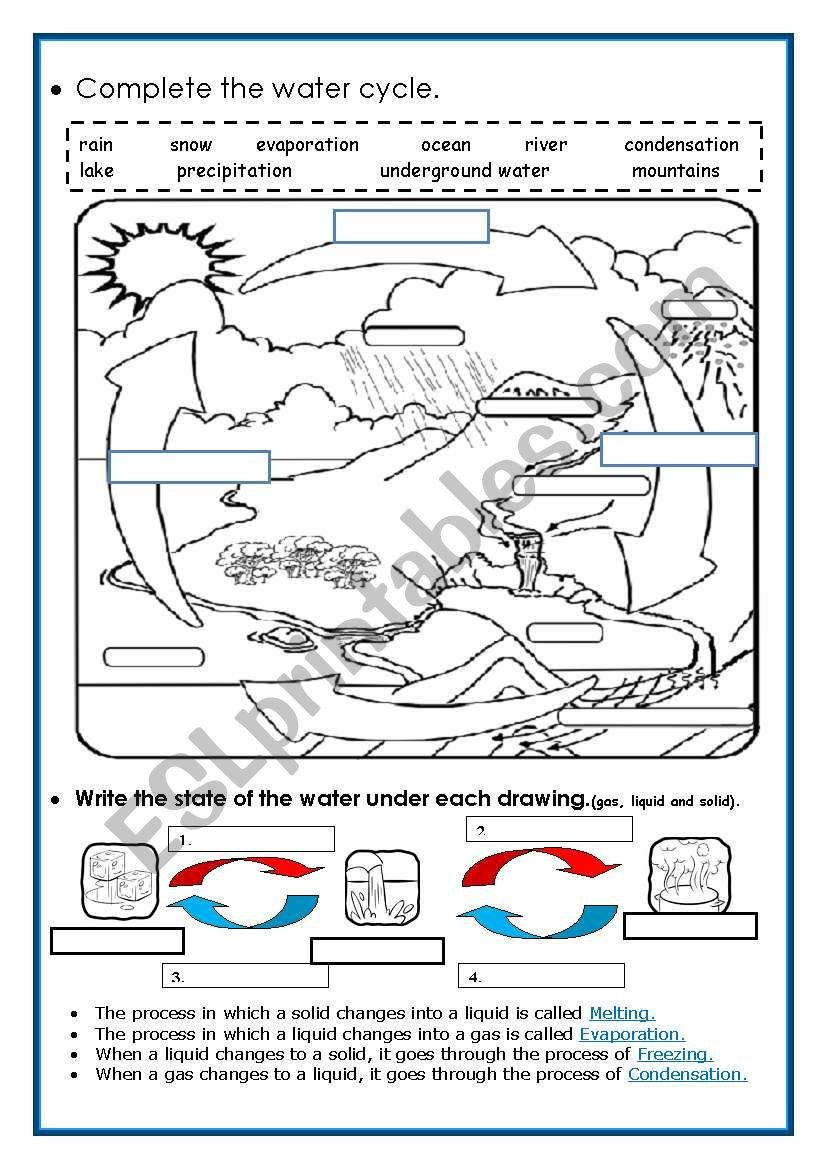 Water Cycle Kindergarten Worksheet Water Cycle for Kindergarten Worksheets – Worksheet for Kids