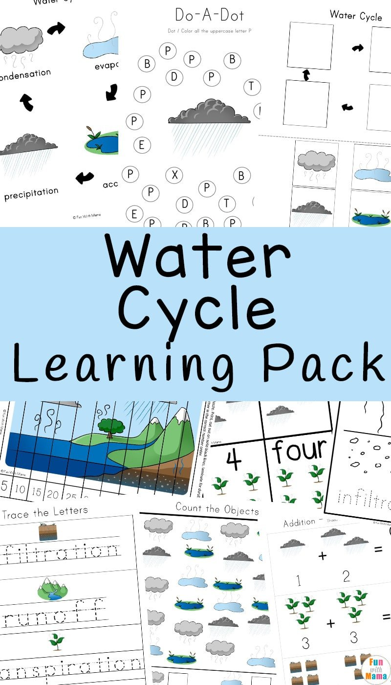 Water Cycle Kindergarten Worksheet Water Cycle Worksheet Learning Pack Fun with Mama