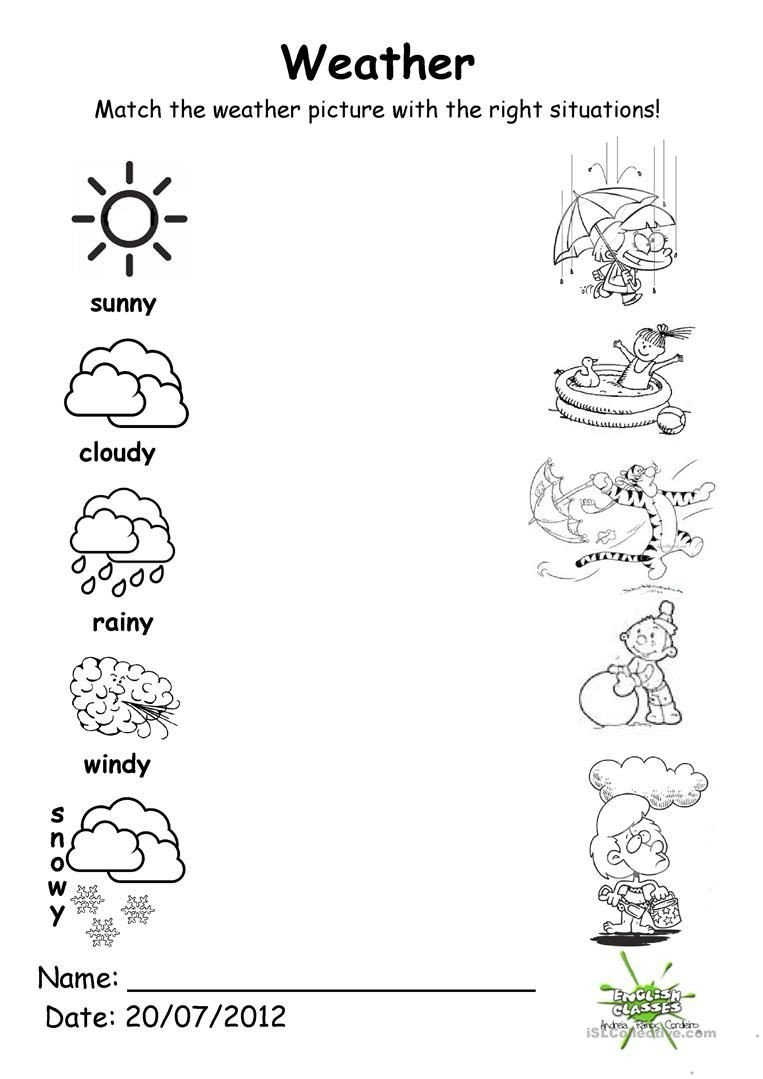 Weather Worksheet for Kindergarten 133 Free Esl Weather Worksheets for Adults