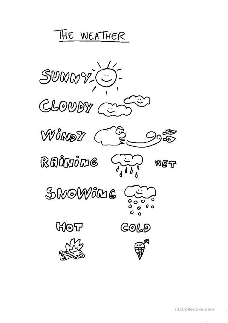 Weather Worksheet for Kindergarten Weather for Children English Esl Worksheets for Distance