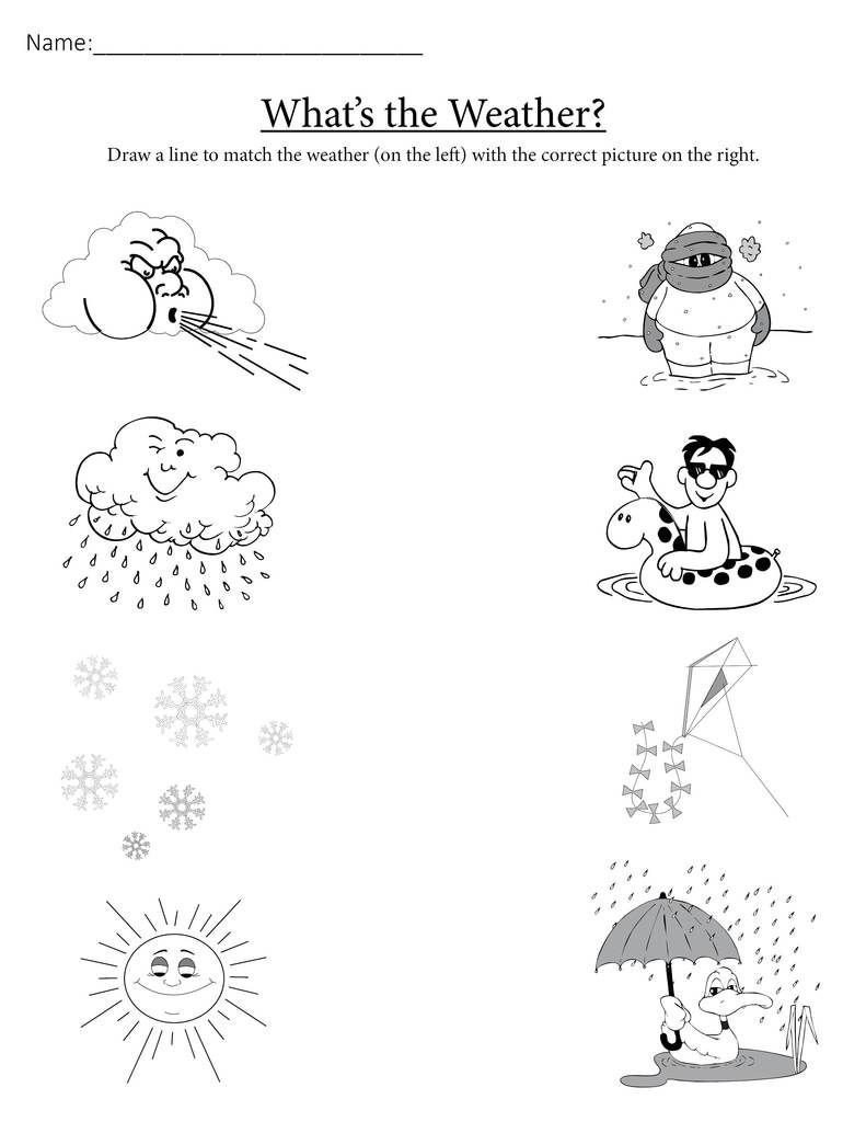 "Weather Worksheet for Kindergarten What S the Weather "" Printable Matching Worksheet"