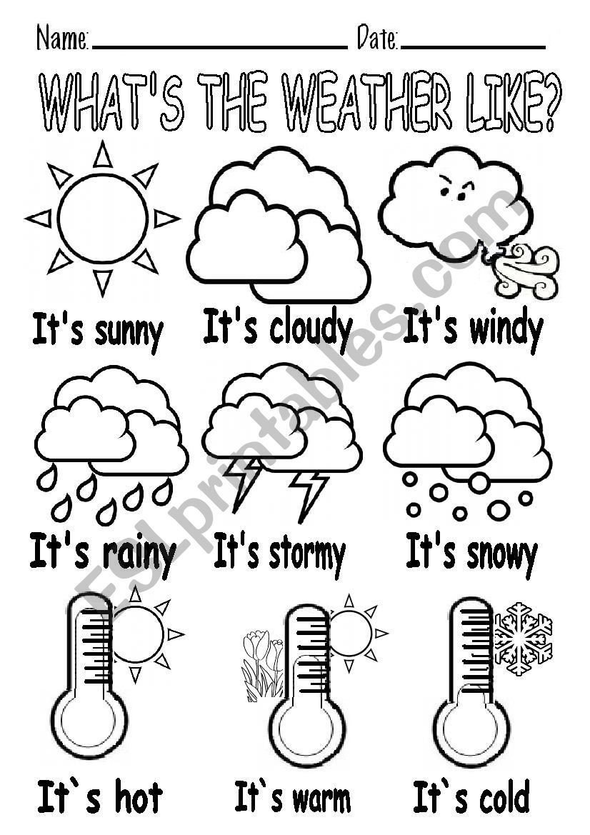 Weather Worksheet for Kindergarten What´s the Weather Like Worksheet