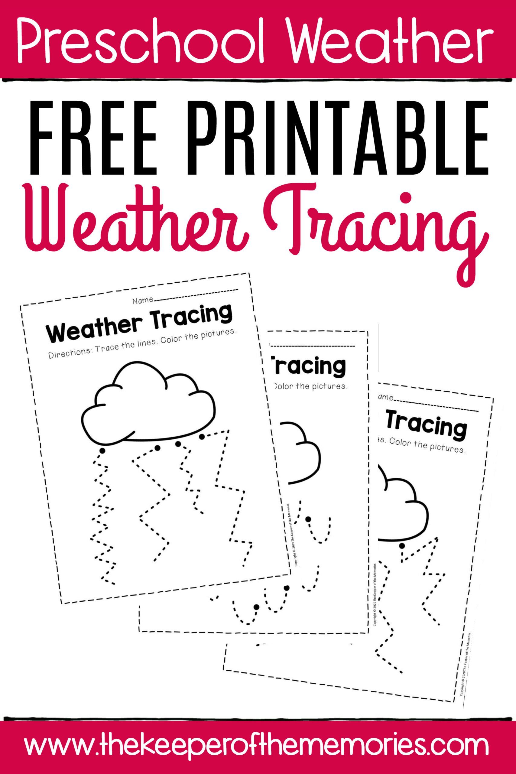 Weather Worksheet for Kindergarten Worksheets Free Printable Storm Clouds Tracing Weather