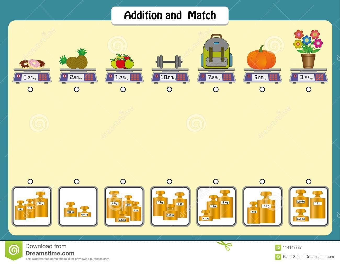 Weight Worksheets for Kindergarten Addition and Match the Weights Objects Math Worksheets