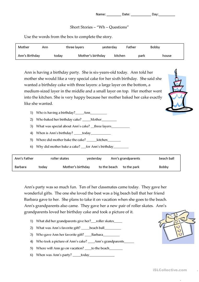 Wh Worksheets for Kindergarten Short Stories Wh Questions Answers English Esl