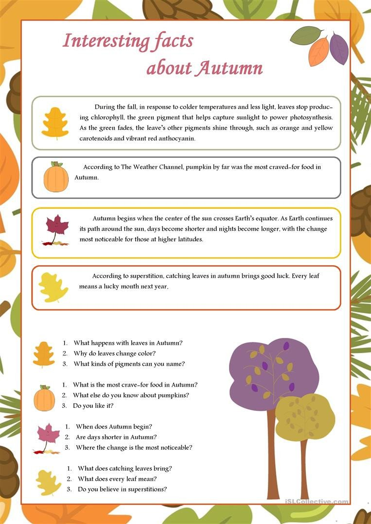 interesting facts about autumn conversation topics dialogs reading prehension 1