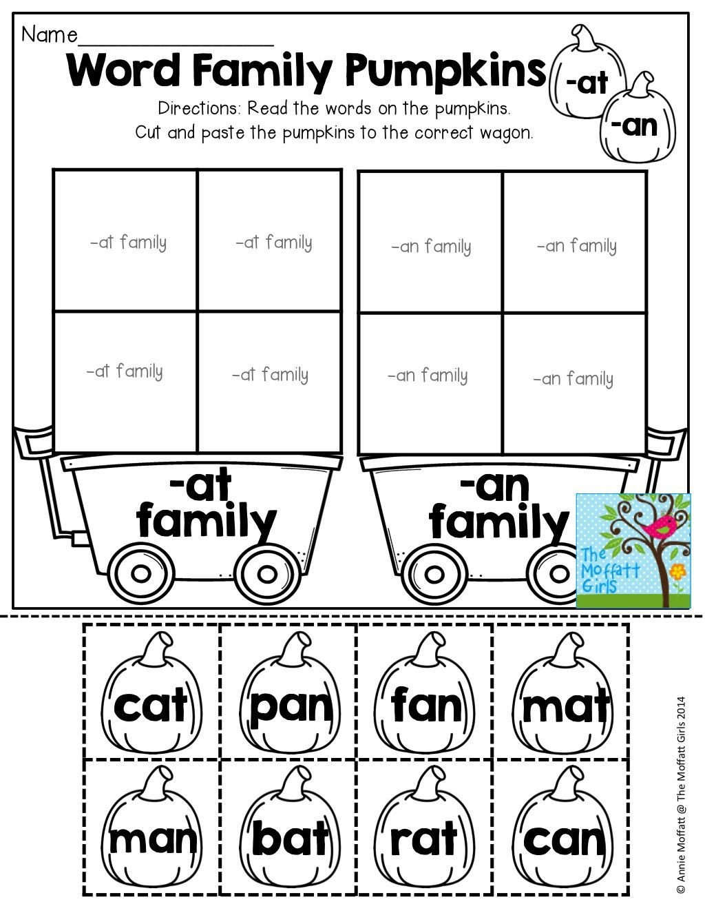Word Families Kindergarten Worksheets October No Prep Math and Literacy Kindergarten