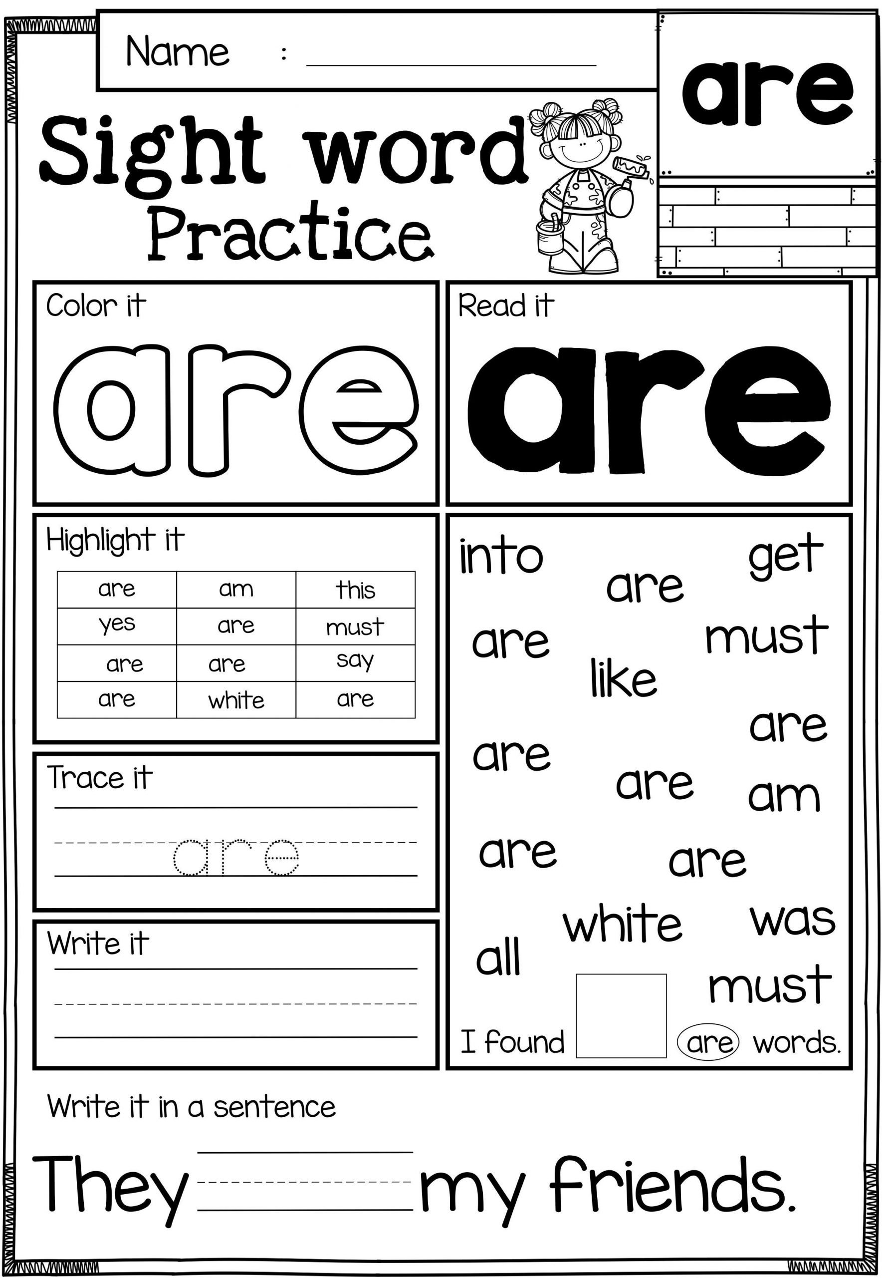 Word Problems for Kindergarten Worksheet Sight Word Practice Primer
