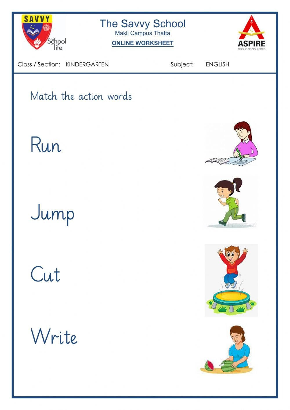 Words Worksheets for Kindergarten Action Words Interactive Worksheet