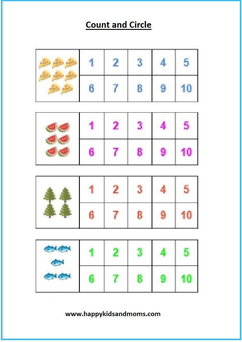 Worksheets for Pre Kindergarten Free Pre K Math Counting Worksheets 1 Happy Kids and Moms