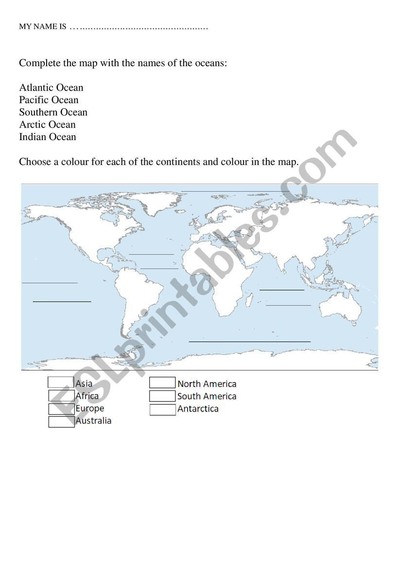 Continents and Oceans Worksheet Continents and Oceans Esl Worksheet by Ola Negra