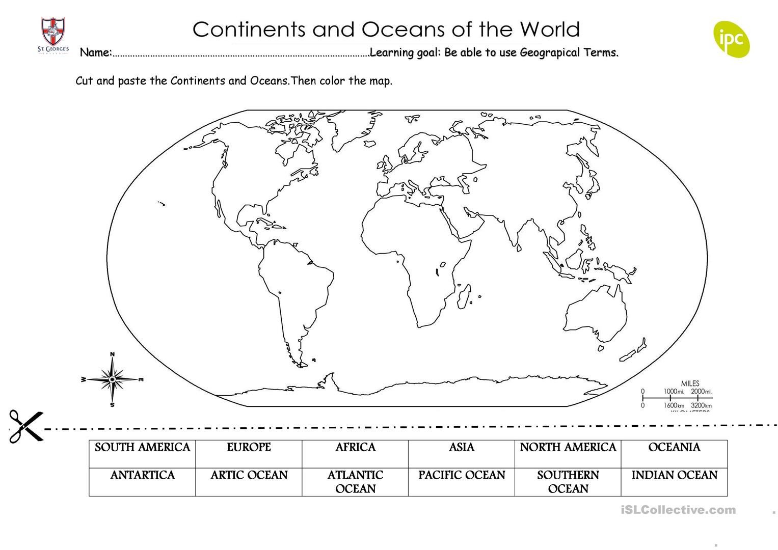 Continents and Oceans Worksheet Quiz Continents English Esl Worksheets for Distance