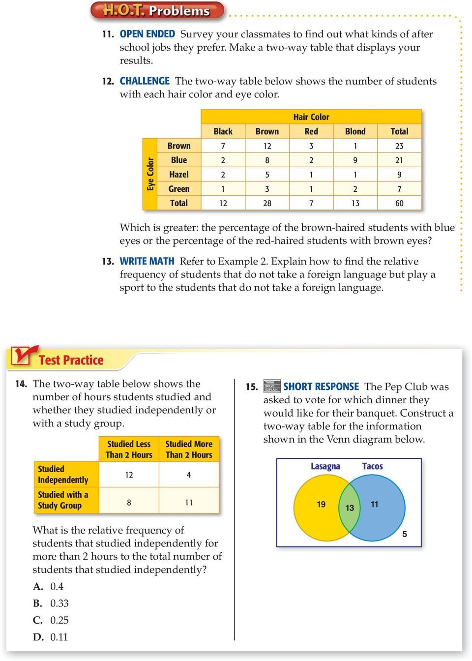 2 Way Frequency Table Worksheet Two Way Tables Lesson 16 Main Idea New Vocabulary Two Way