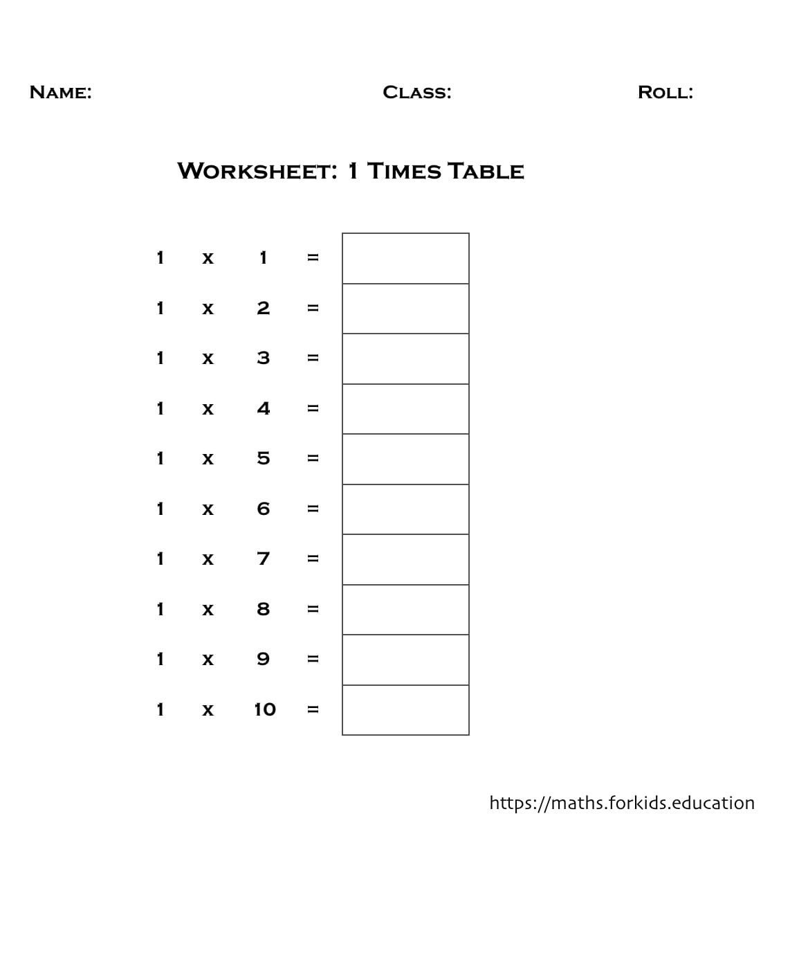 4 Times Tables Worksheet Multiplication Tables Of 1 to 20 with Printable Charts and