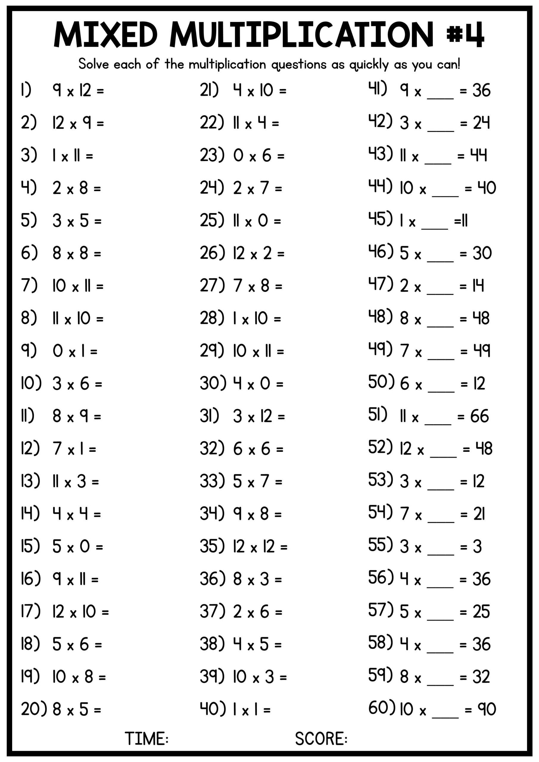 4 Times Tables Worksheet Pin Study Mixed Times Tables Worksheets Gradesfirst