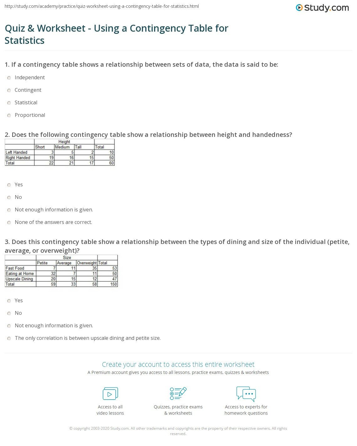 quiz worksheet using a contingency table for statistics