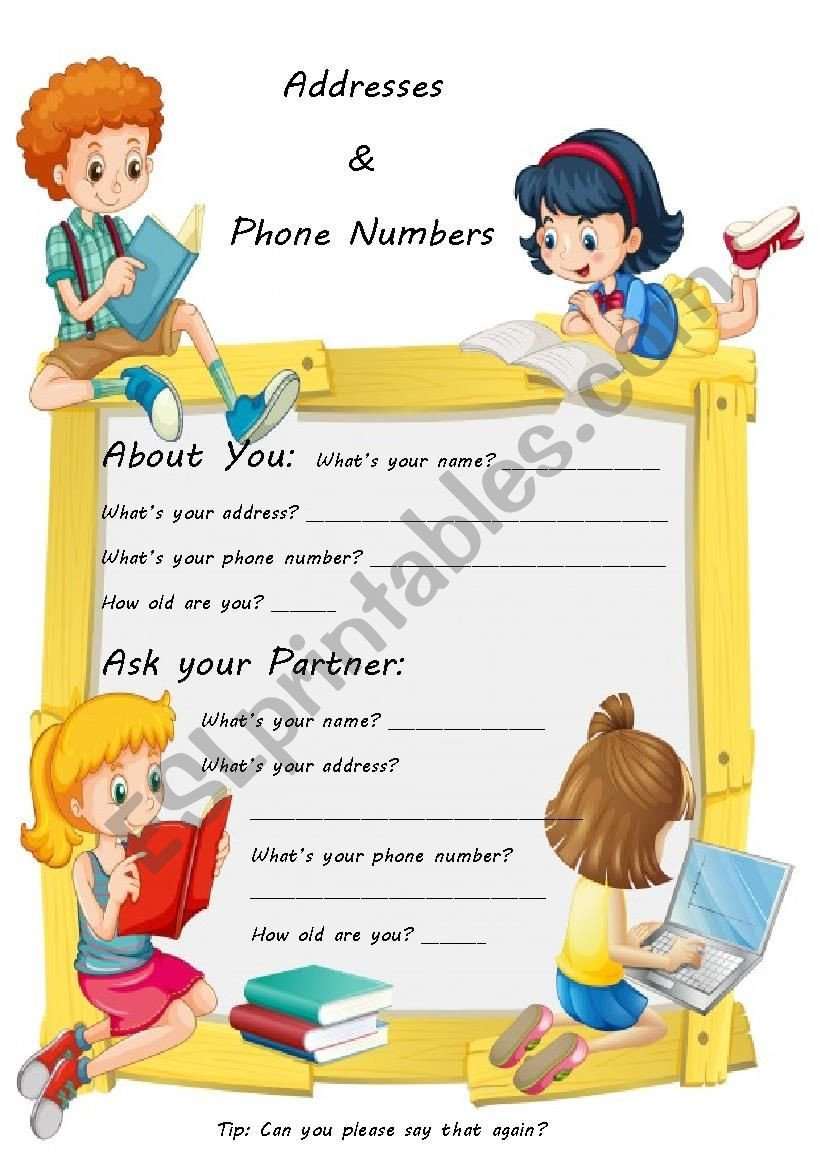 Address and Phone Number Worksheet Addresses & Phone Numbers Esl Worksheet by sophief