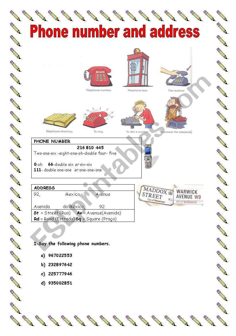 Address and Phone Number Worksheet Phone Number and Address Esl Worksheet by Sandra Cunha