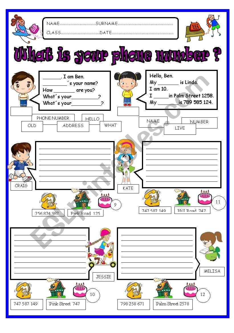 Address and Phone Number Worksheet What is Your Phone Number Esl Worksheet by Jazuna