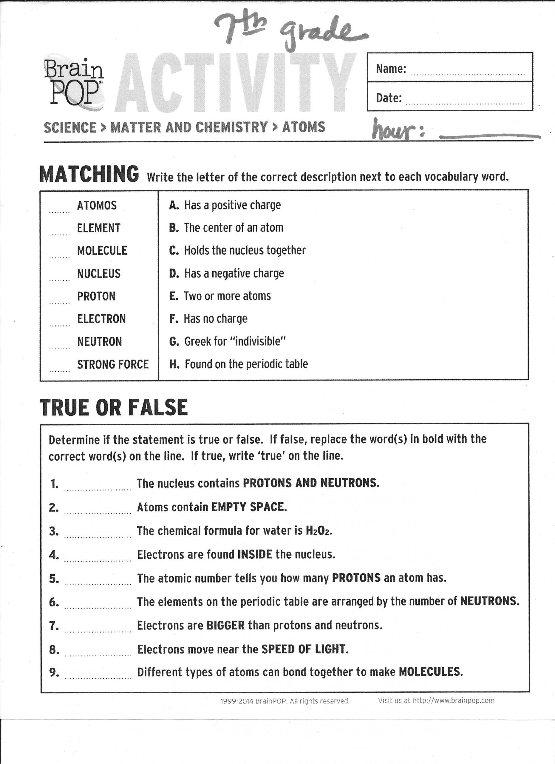 Brainpop Periodic Table Worksheet Answers 7th Grade