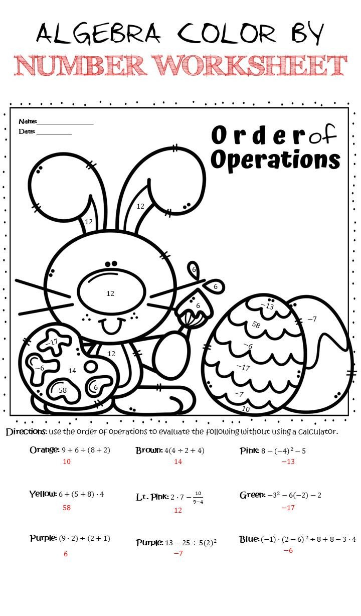 Color by Number Algebra Worksheets Algebra Color by Number Worksheet Easter Bunny Basic Algebra