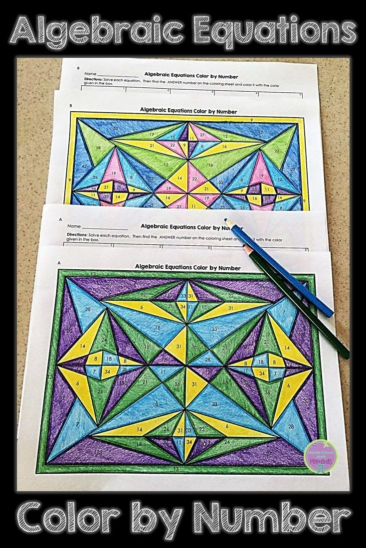 Color by Number Algebra Worksheets Algebraic Equations Color by Number