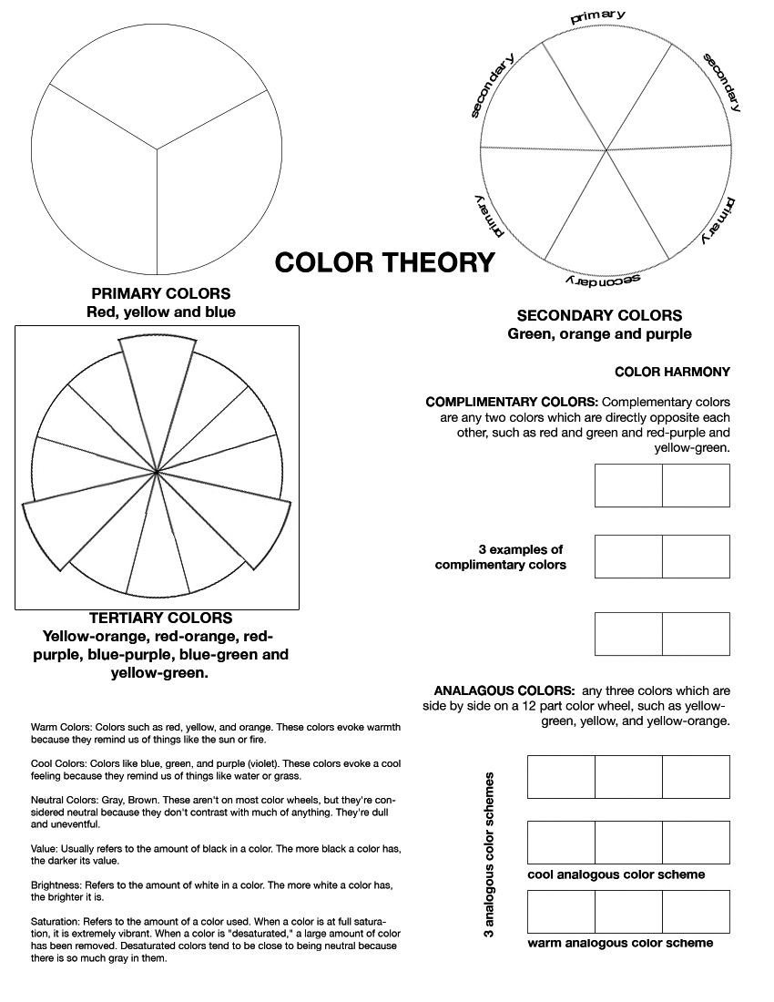 Color Wheel Worksheet for Elementary Amazing Printable Worksheets