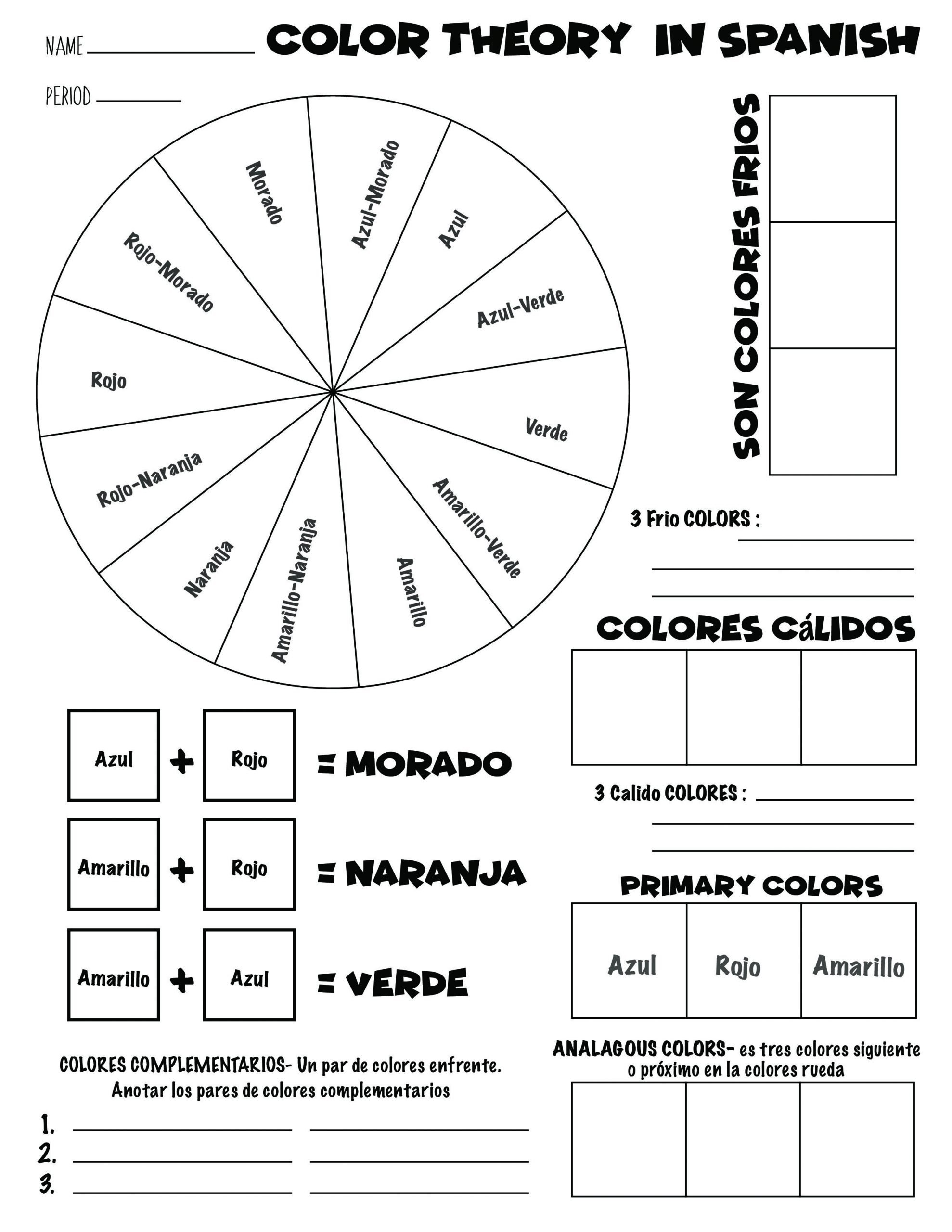 Color Wheel Worksheet for Elementary Art 101 Color Wheel Worksheet In Spanish
