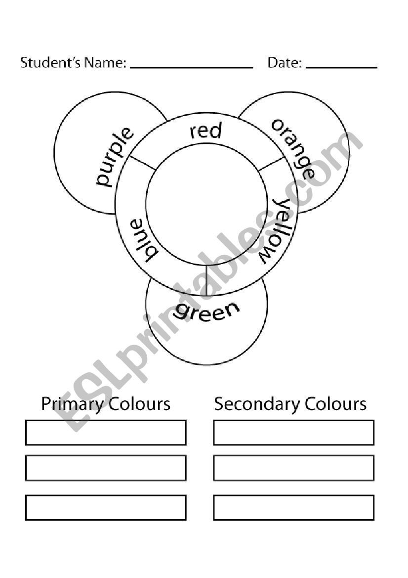 Color Wheel Worksheet for Elementary Blank Colour Wheel Esl Worksheet by Teach484