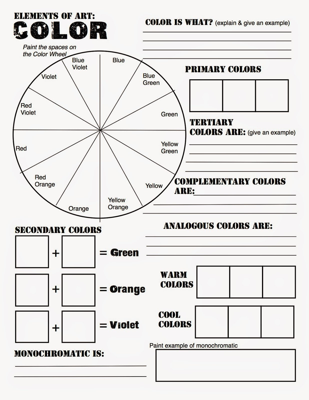 Color Wheel Worksheet for Elementary Color Chart Worksheet