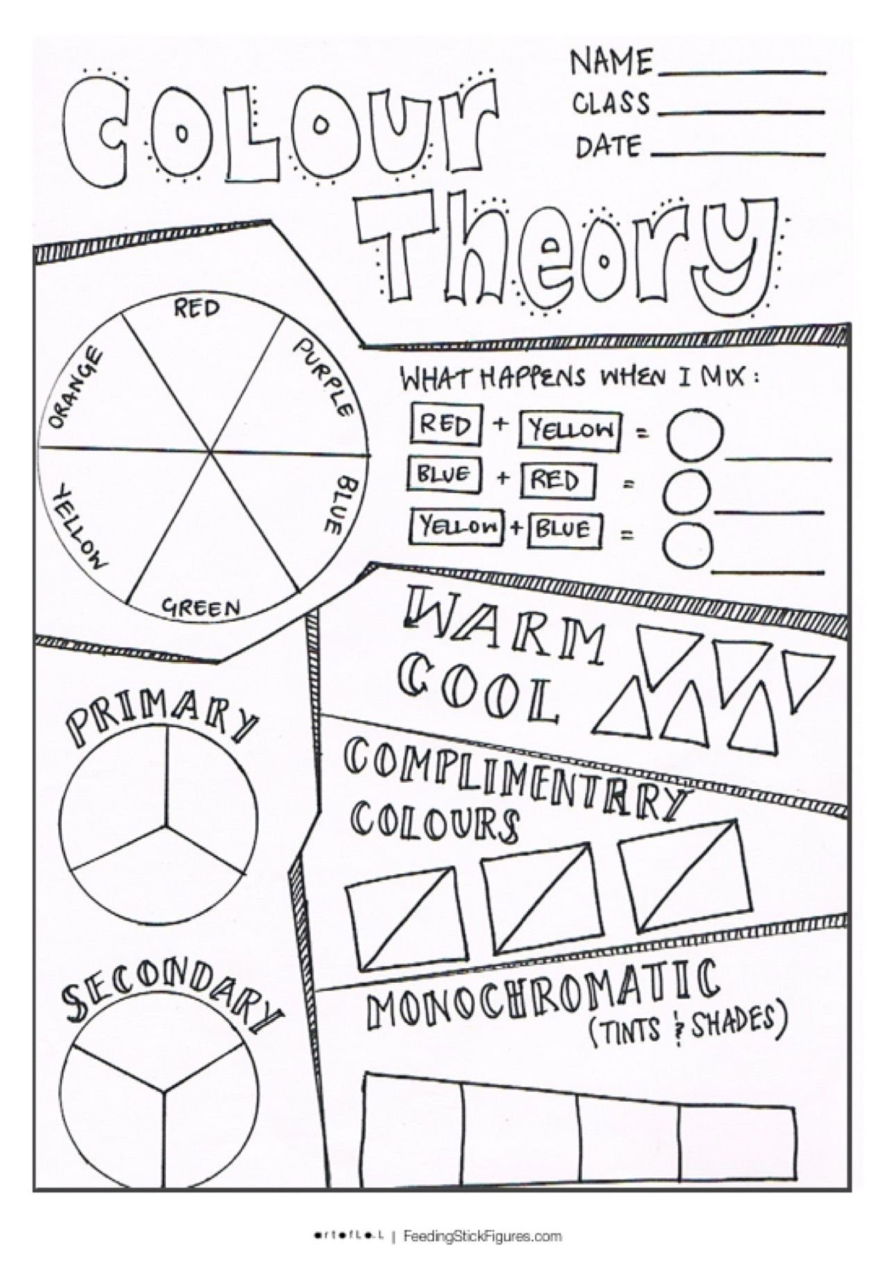 Color Wheel Worksheet for Elementary Intro to Colour theory Sheet Feedingstickfigures