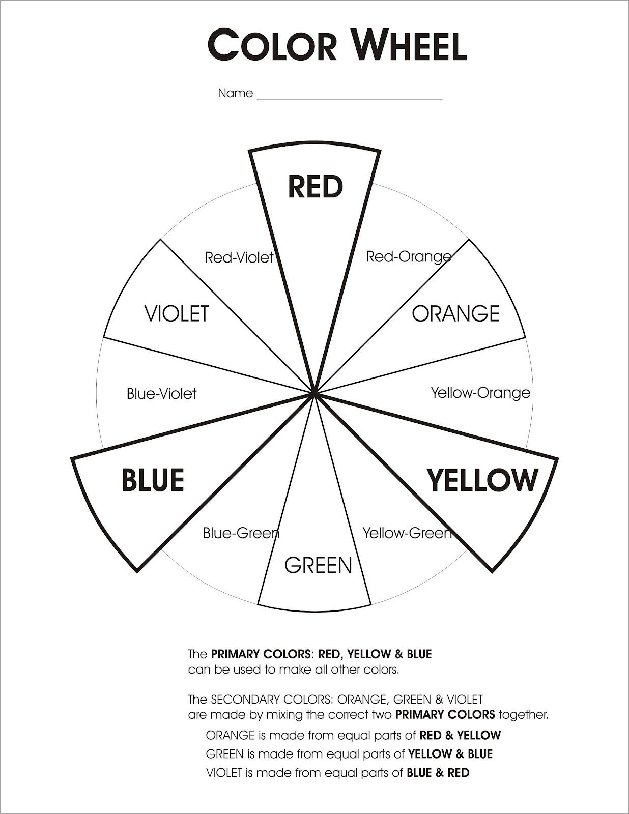 Color Wheel Worksheet for Elementary Printable Color Wheel Worksheet – Jowo