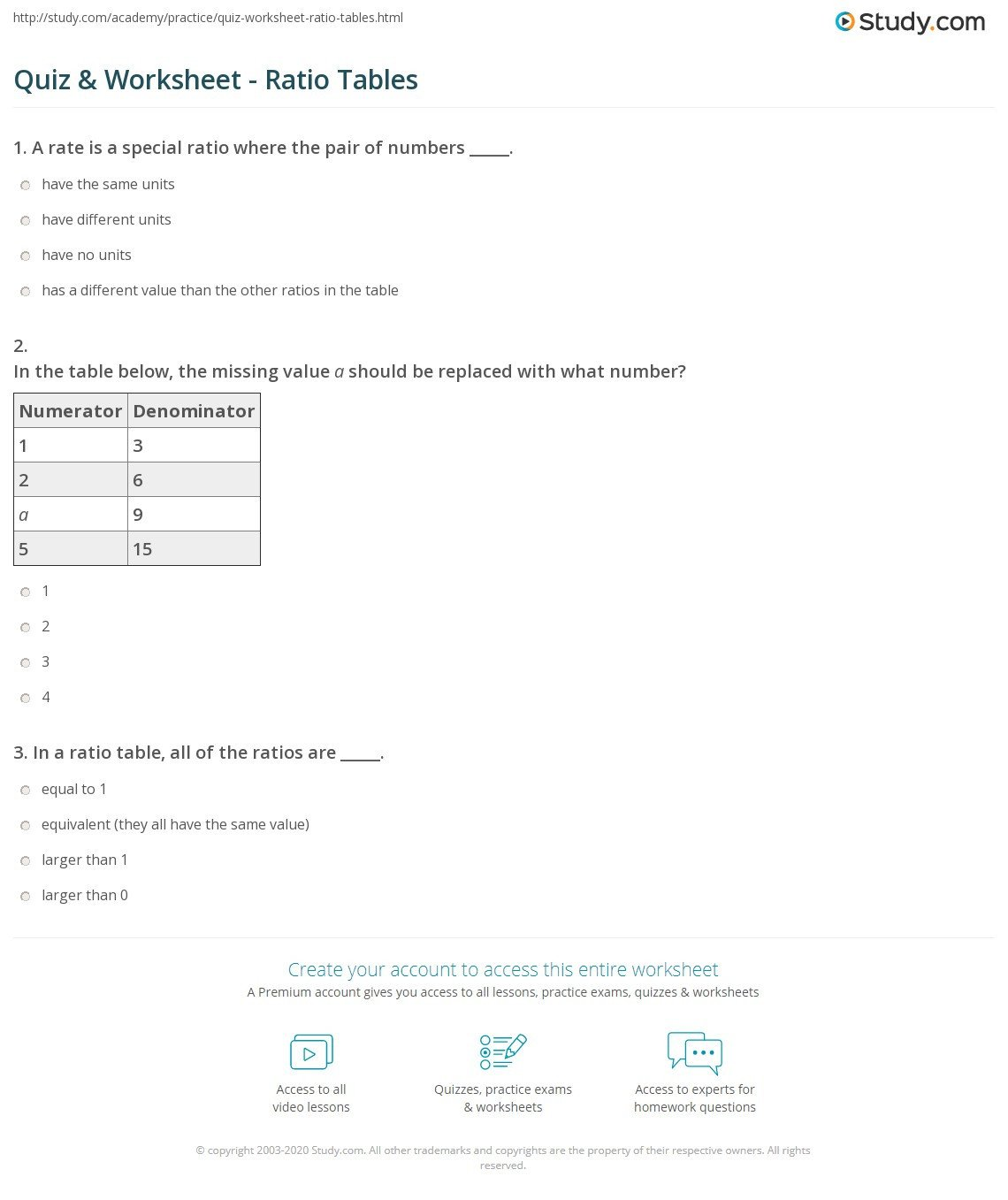 quiz worksheet ratio tables