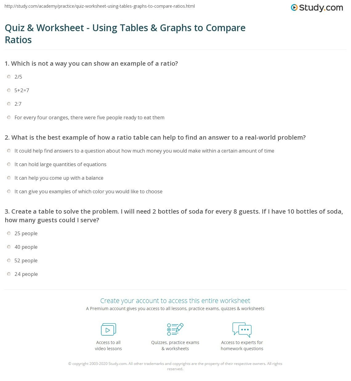 quiz worksheet using tables graphs to pare ratios