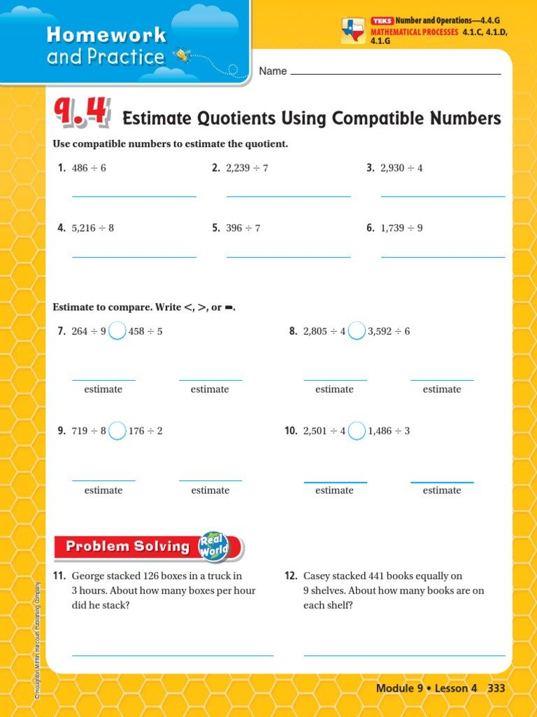 Compatible Numbers Division Worksheets 9 4 Estimate Quotients Using Patible Numbers
