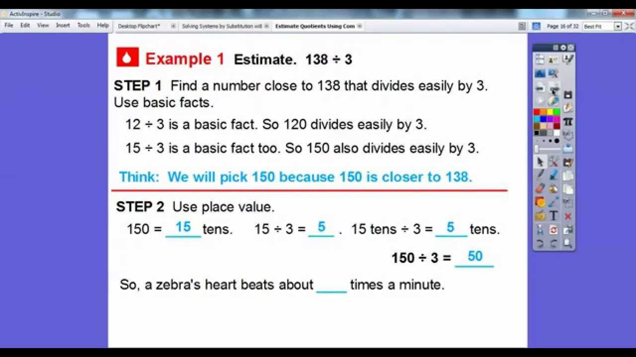 Compatible Numbers Division Worksheets Estimate Quotients Using Patible Numbers Lesson 4 5