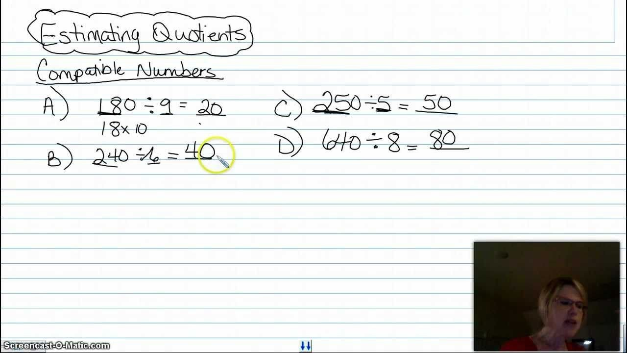 Compatible Numbers Division Worksheets Estimating Quotients Using Patible Numbers